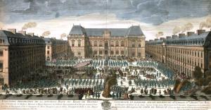 Festivités lors de l'élévation de la statue de Louis XIV au centre de la place du Palais à Rennes en 1726