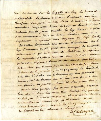 Verso de la lettre du marquis de Langeron, gouverneur de Brest, à son ami Rochegude à Saint-Domingue, 1er août 1785, Archives de Brest, 94S9_2
