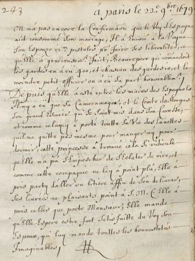 Nouvelles à la main datées du 22 novembre 1679. Bibliothèque de Rennes Métropole, Ms 1209. Domaine public.