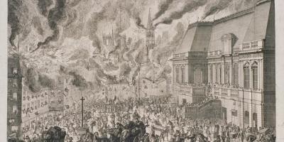 Partie de l'incendie de la ville de Rennes, vue de la place du Palais, gravure sur cuivre