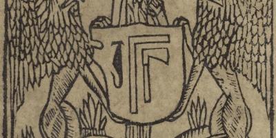 Colophon du Catholicon, avec la marque de l'imprimeur. Bibliotèque de Rennes Métropole, 15203 res.