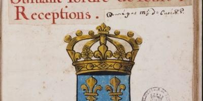 Manuscrit sur papier, contenant 111 écussons peints de la main de J. Ferré, Bibliothèque de Rennes Métropole, Ms 0522. Domaine public.MS