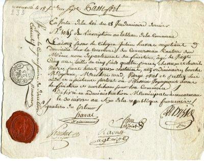 un passeport intérieur à l'époque révolutionnaire