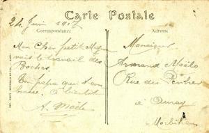 Carte postale expédiée par un soldat d'Auray en 1917. Verso. Domaine public.