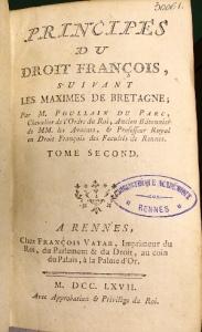 Poullain-Duparc A.-M. Principes du droit. français (1767) © SCD Rennes 1