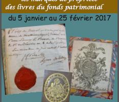 Affiche exposition ex-libris. Bibliothèque Les Amours jeunes Hôtel de Ville de Morlaix. 5/01 au 25/02/2017.