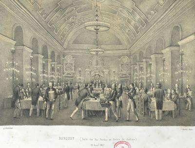 Banquet du jour de l'inauguration officielle de la gare de Rennes. 26 avril 1857.