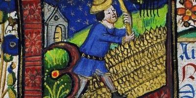 Livre d'heures de Jean de Montauban. Initiale historiée. Mois d'Août : battage des blés. Bibliothèque de Rennes métropole. Ms 1834.