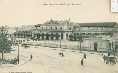Carte postale de la gare de Rennes. Archives de Rennes, 44 Z 2065
