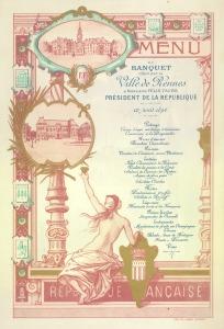 Menu du banquet offert par la ville de Rennes à l'occasion de la venue de Félix Faure le 12 août 1896. Archives de rennes, 3K8