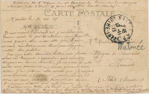 Verso d'une carte postale adressée à une réfugiée belge à Rennes, depuis Nantes le 9 novembre 1915. Ms1348