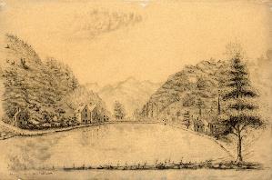 Artiste anonyme, Etang de Léhon près Dinan, dessin, vers 1810 © B. M. de Dinan.