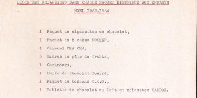 Liste de friandises pour l'arbre de Noël des enfants du personnel municipal en 1963