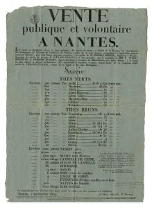 Archives de Nantes. Fonds Dobrée (8Z) Vente de marchandises provenant de la cargaison du navire Le Fils-de-France (affiche ; 8Z419)