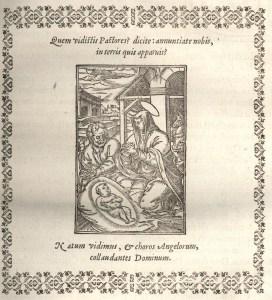 bois gravé extrait de Missale Macloviense…, Maclovii [Saint-Malo], apud Petrum Marcigay, 1609, p. 15. (Coll. Bibliothèque municipale de Dinan, cote : C. 8).