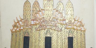Temple cambodgien, vers 1885, dessin cambodgien rehaussé à la feuille d'or, extrait des manuscrits de Contes khmers (Coll. Bibliothèque municipale de Dinan, Fonds Auguste-Pavie : Cambodge, Laos, Viêt Nam).