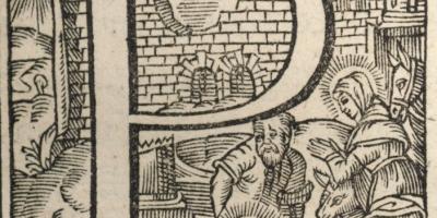 lettrine gravée sur bois extraite de Missale Macloviense…, Maclovii [Saint-Malo], apud Petrum Marcigay, 1609, p. 19. (Coll. Bibliothèque municipale de Dinan, cote : C. 8).