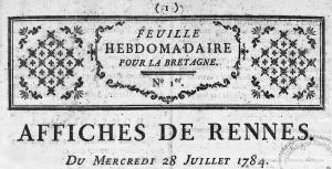 Affiches de Rennes : feuille hebdomadaire pour la Bretagne