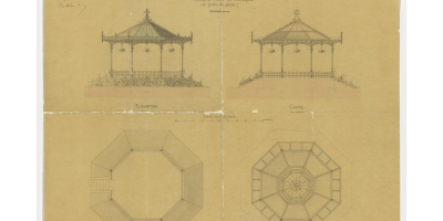 Kiosque pour la musique au jardin des plantes, signé Jean-Baptiste Martenot, 20 juillet 1875. 5 Fi 193