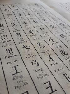Page du Dictionnaire chinois-français-latin de Chrétien-Louis-Joseph de Guignes. Médiathèque de Vannes F°663.