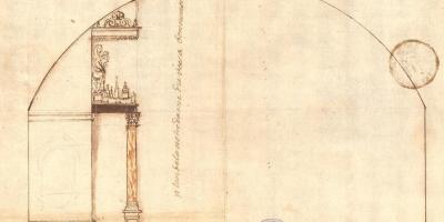 Dessin à l'encre représentant la maquette du Vœu dans la chapelle de Bonne-Nouvelle, première moitié du XVIIe siècle. GG 292