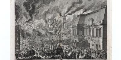 Partie de l'incendie de la ville de Rennes, vue de la place du Palais. Gravure sur cuivre.