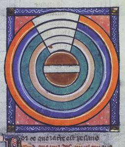 La Terre entourée des éléments. Ms 0593, F.63r. Bibliothèque Rennes Métropole