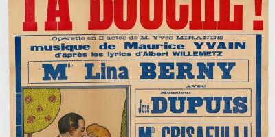 """""""Tournées Ch. Baret. Rennes, théâtre municipal. Vendredi 31 août 1923 (...) Le triomphal succès, Ta bouche !, opérette en 3 actes"""", affiche, Archives de Rennes, 9 Fi 7876."""